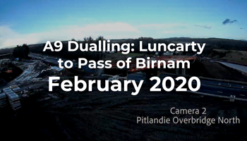A9 Dualling: Luncarty to Pass of Birnam - Monthly time-lapse - February 2020
