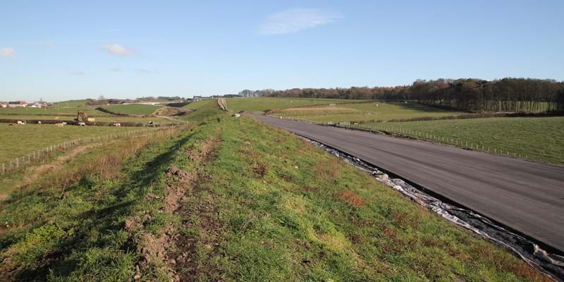Earthworks bund adjacent to Blairland Farm looking east towards Blair Road- Oct 2018 - A737 Dalry Bypass