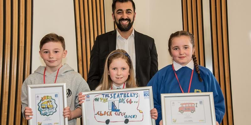 Minister for Transport with Seat Belt Design Competition winners - April 2018