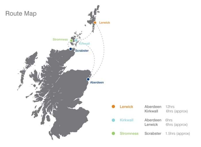 Route map for Northern Isles
