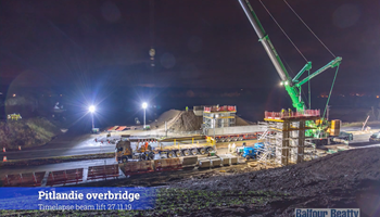 A9 Dualling: Luncarty to Pass of Birnam - Timelapse video of Pitlandie and Coltrannie overbridges beam installation - November 2019