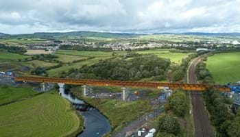 Viaduct taking road across River Garnock and railway line- Oct 2018 - A737 Dalry Bypass