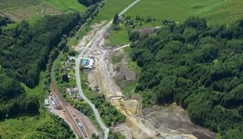 Aerial view of the south roundabout at Crianlarich July 2014