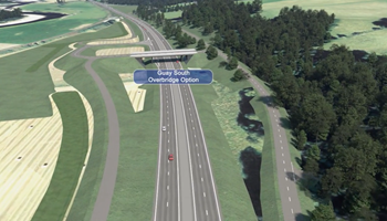 Visualisation - Guay South overbridge option - Tay Crossing to Ballinluig - A9 Dualling
