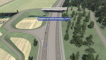 Visualisation - Kindallachan North Overbridge option - Tay Crossing to Ballinluig - A9 Dualling